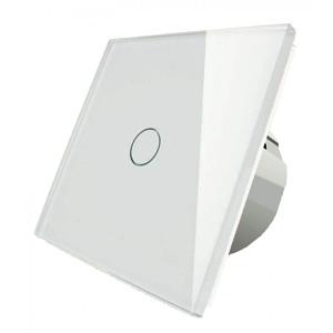 Intrerupator touch simplu sticla securizata alb