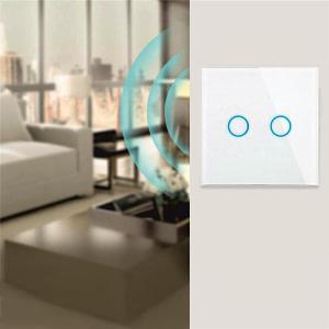 Intrerupator touch dublu WI-FI sticla securizata alb