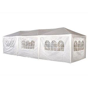 Cort Pavilion 9x3m pentru Gradina, Curte sau Evenimente cu 8 Pereti Laterali, Culoare Alb