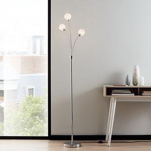 Lampadar argintiu din metal cu efect cromat lucios, 3 x G9, IP20, 40W