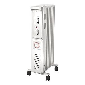 Radiator electric pe ulei, 7 elementi, 1500W, cu termostat, culoare alb